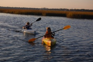 Julian and Maddie kayaking near Beaufort, SC