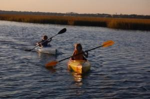 Julian and Maddie kayaking near Beaufort, SC